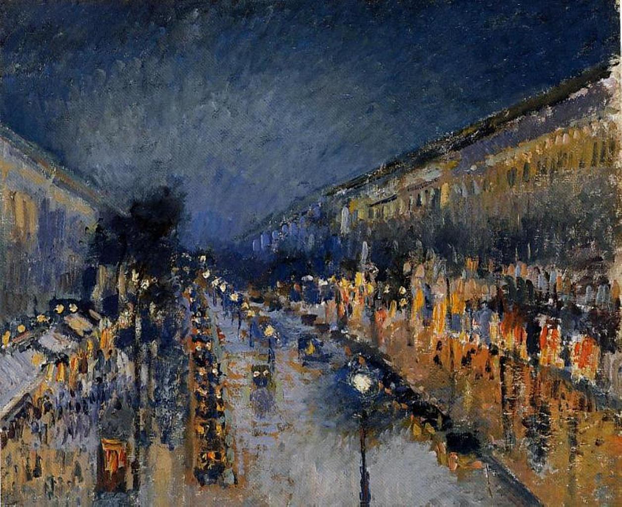 Camille Pissarro - Boulevard Montmartre la nuit