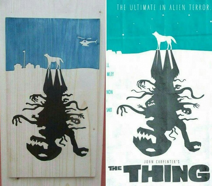 The Thing alternative poster wooden carving