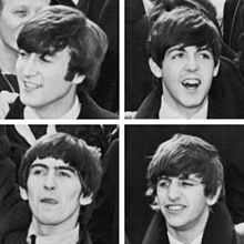 A square quartered into four head shots of young men with moptop haircuts. Clockwise from top left, one smiles jauntily towards his right, one faces forward excitedly with an opened mouth, one smiles with his left eye half closed as if blinking, and one looks up with his tongue stuck out slightly as if licking his lips. All four wear white shirts and dark coats.