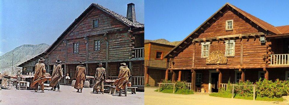 """""""Tenkrát na Západě"""" (vlevo záběr z filmu, vpravo snímek z výletu)"""