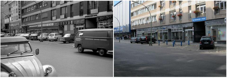Genthiner Strasse: Vlevo: Dobová fotografie diskotéky SOUND (1974); Vpravo: Pohled na místo, kde bývala diskotéka SOUND (2012).