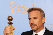 """Actor Kevin Costner, winner of Best Actor in a Mini-Series or a Motion Picture Made for Television for """"Hatfields & McCoys,"""" poses in the press room during the 70th Annual Golden Globe Awards held at The Beverly Hilton Hotel on January 13, 2013 in Beverly Hills, California."""