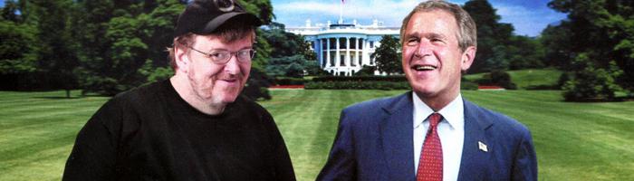 Fahrenheit 9/11 (2004) - Michael Moore je sice neobjektivní konspirátor, ale já jeho teorie zbožňuji a tu o 11. září nejvíc!