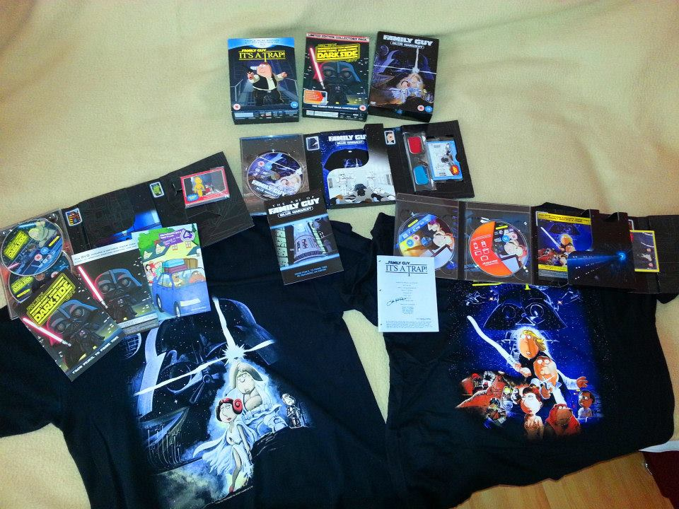 Family Guy Presents Blue Harvest (Ltd Edition) [2007]; Family Guy - Something Something Something Dark Side (Limited Edition plus T-shirt and Collector Cards) & Family Guy - It's A Trap (Limited Edition with T-Shirt, Collector's Cards and Script)